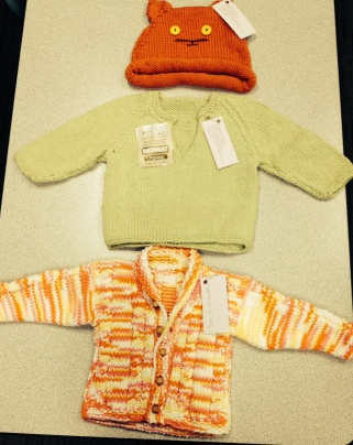 Hand Knitted Sweaters and Hat for Baby
